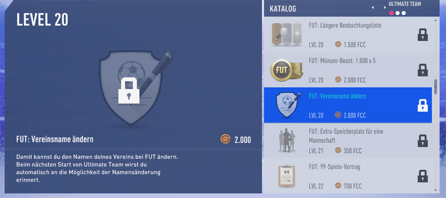 FIFA 19 Vereinsname ändern über Verbrauchsobjekt