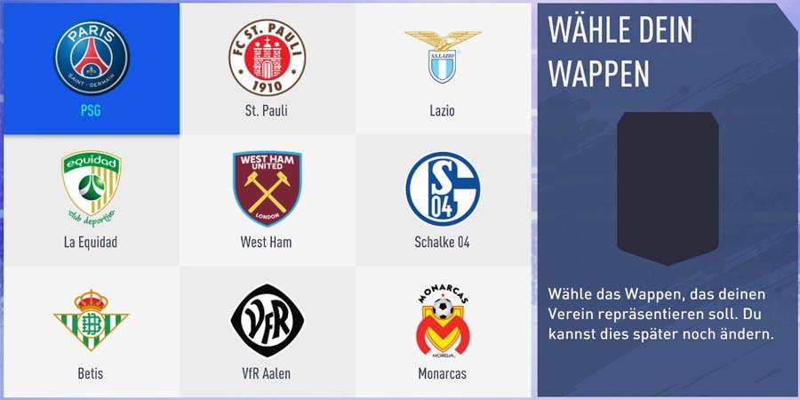 Vereinswappen auswählen: Auch hier gibt es nur 2 Wappen von Top-Teams, der Rest sind kleinere Mannschaften.