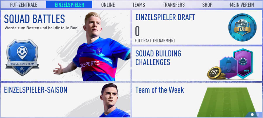 Einzelspieler-Menü: Spiele Einzelspieler-Saisons, Squad Battles, Draft, Squad Building Challenges oder Team-of-the-Week-Challenge