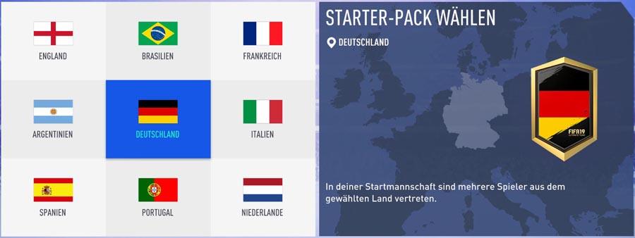 Starter-Pack: Wähle am besten England oder Deutschland. Das erleichtert später die Squad Building Challenges für Einsteiger.